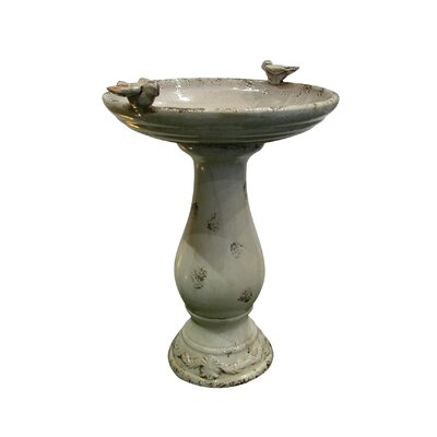 Alpine Antique Ceramic Bird Bath with 2 Birds - Colour: Light Brown at Sears.com