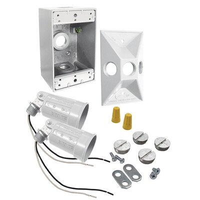 75 To 150 Watt Rectangular Dual Lampholder Kit Color: White
