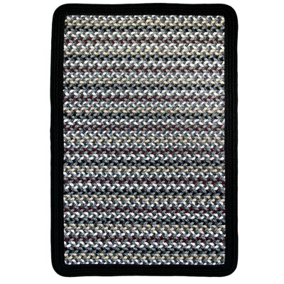Vineyard Haven Harbor Fog/Solid Black Indoor/Outdoor Area Rug Rug size: Square 4