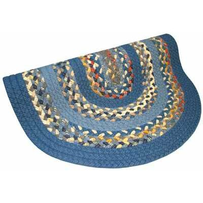 Minuteman Rust Light Blue Multi with Dark Blue Solids Multi Round Rug Rug Size: Round 4'