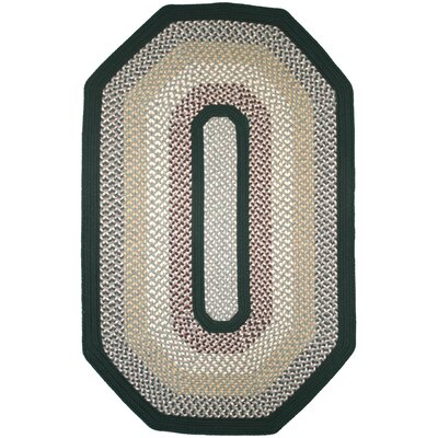 Green Mountain Balsam Fir Elongated Octagon Green Striped Area Rug Rug Size: Elongated Octagon 9 x 12