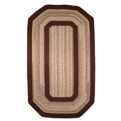 Pioneer Valley II Buckskin with Burgundy Solids Elongated Octagon Outdoor Rug Rug Size: Elongated Octagon 4 x 6