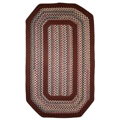 Pioneer Valley II Indian Summer with Burgundy Solids Elongated Octagon Outdoor Rug Rug Size: Elongated Octagon 6 x 9
