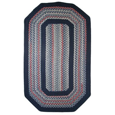 Pioneer Valley II Olympic Blue with Dark Blue Solids Multi Elongated Octagon Outdoor Rug Rug Size: Elongated Octagon 6 x 9