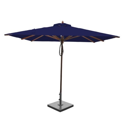 8 Smithshire Mahogany Square Market Umbrella Fabric: Ocean Blue