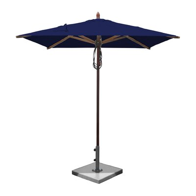 6.5 Smith Mahogany Square Market Umbrella Fabric: Ocean Blue