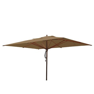10 x 13 Mahogany Rectangular Market Umbrella Fabric: Beige