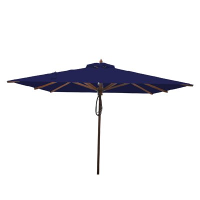 8 Smithshire Mahogany Square Market Umbrella Fabric: Ocean Blue