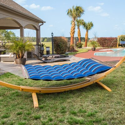 Image of Gloria Pillowtop Sunbrella Tree Hammock Color: Gateway Indigo