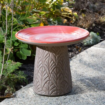 Nakoda Ceramic Birdbath Color: Mango