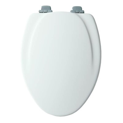 Wood Slow-Close Toilet Seat Decal Hinge Finish: Nickel