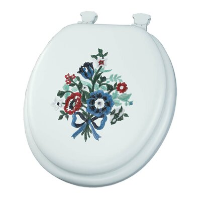 Embroidered Bouquet Lift-Off Toilet Seat