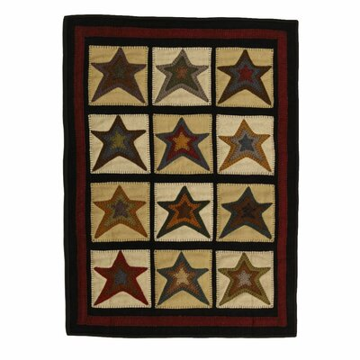 Penny Star Patch Black/Beige Area Rug Rug Size: 3 x 5