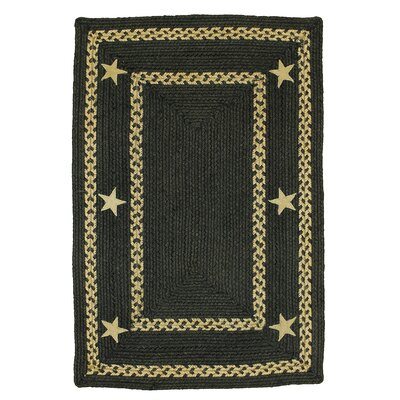 Texas Star Jute Braided Black Area Rug Rug Size: 18 x 26