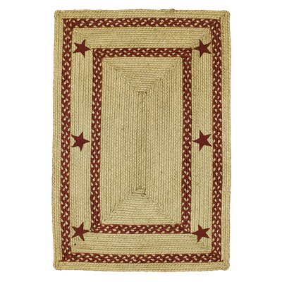 Texas Star Jute Braided Red Area Rug Rug Size: 18 x 26