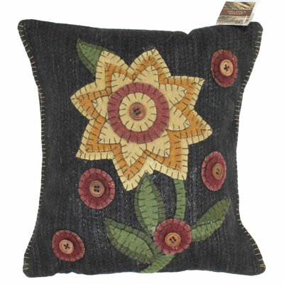 Primitive Button Blooms Throw Pillow