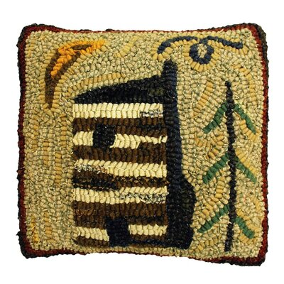 Cabin Handcrafted Hooked Wool Throw Pillow
