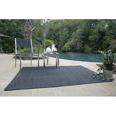 Ultra-Durable Black Solid Indoor/Outdoor Area Rug Rug Size: Oval 23 x 4