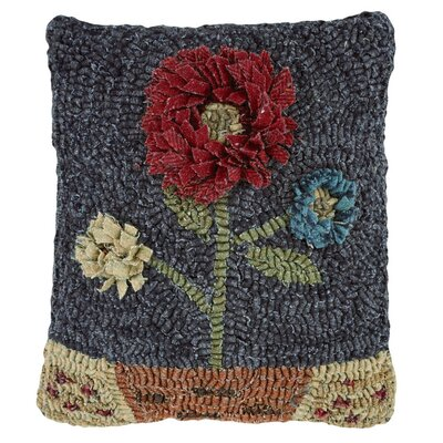 Moon Flower Hooked Wool Throw Pillow