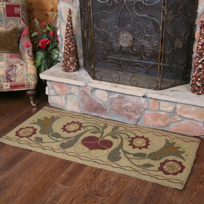 Hooked Green Padula Flowers Area Rug Rug Size: Rectangle 2 x 5