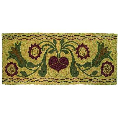 Hooked Green Padula Flowers Area Rug Rug Size: 2 x 5