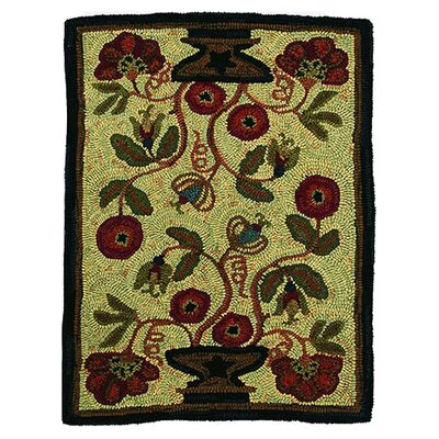 Hooked Potted Flower Area Rug Rug Size: 2 x 3