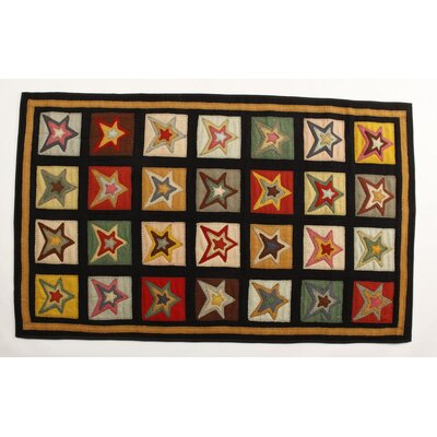 Penny Star Patch Sampler Black/Gold Area Rug Rug Size: 3 x 5