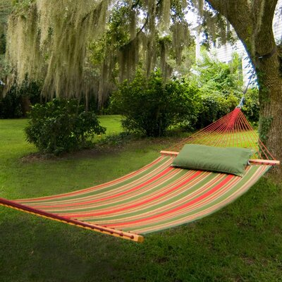 Garden Large Striped Quilted DuraCord Tree Hammock Color: Trellis Garden Stripe