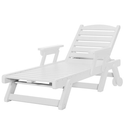 Wheeled Chaise Lounge Color: White