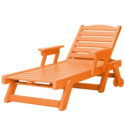 Wheeled Chaise Lounge Color: Orange