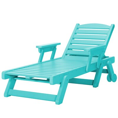 Wheeled Chaise Lounge Color: Turquoise