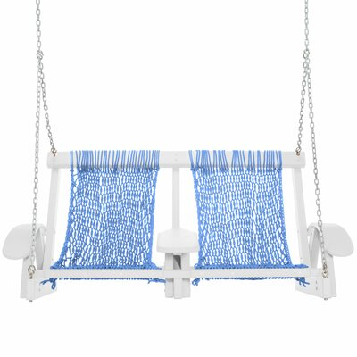 Coastal Porch Swing Finish: White, Fabric: Coastal Blue