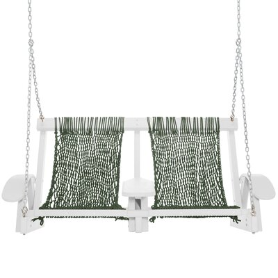 Coastal Porch Swing Finish: White, Fabric: Green