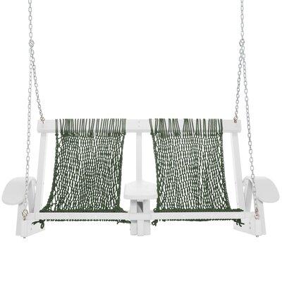 Coastal Porch Swing Finish: White, Fabric: Green
