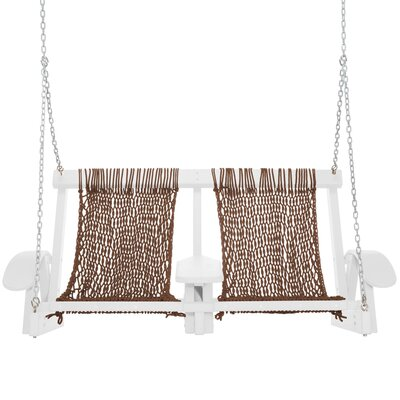 Coastal Porch Swing Finish: White, Fabric: Antique Brown
