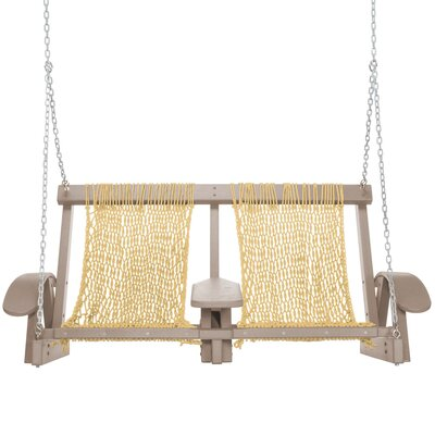 Coastal Porch Swing Finish: Weatherwood, Fabric: Tan