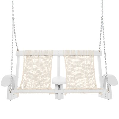 Coastal Porch Swing Finish: White, Fabric: Oatmeal