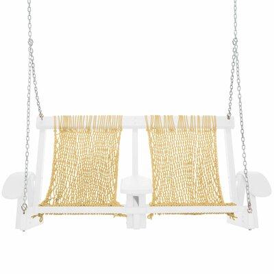 Coastal Porch Swing Finish: White, Fabric: Tan