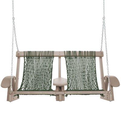 Coastal Porch Swing Finish: Weatherwood, Fabric: Green