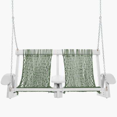 Coastal Porch Swing Finish: White, Fabric: Meadow Green