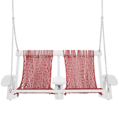 Coastal Porch Swing Finish: White, Fabric: Garnet