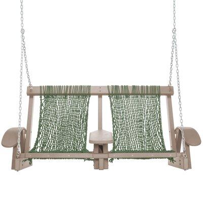 Coastal Porch Swing Finish: Weatherwood, Fabric: Meadow Green