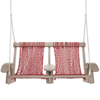 Coastal Porch Swing Finish: Weatherwood, Fabric: Garnet