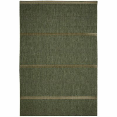 Inlet Green Stripe Indoor/Outdoor Area Rug Rug Size: 5 x 7