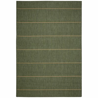 Palmetto Green Stripe Indoor/Outdoor Area Rug Rug Size: 5 x 7