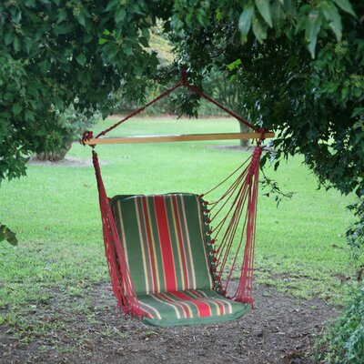 Pawleys Island Cushioned Single Cotton Chair Hammock Color: Trellis Garden Stripe