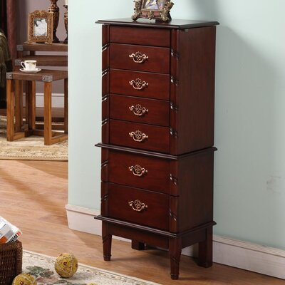 Cherry Luxemburg Classic Jewelry Armoire with Mirror