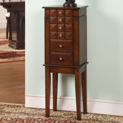 Diamonti Jewelry Armoire with Mirror Finish: Coffee Brown