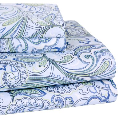 Lindsey Paisley 300 Thread-Count Cotton Sheet Set Size: CA King, Color: Blue