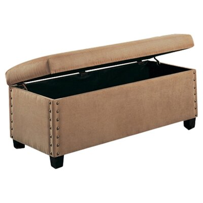 Brighton Microfiber Bedroom Bench with Storage and Pin Trim in Tan